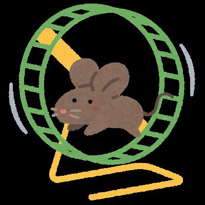 ネズミ回しで回るネズミ
